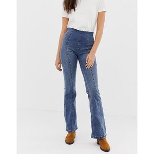 NEW We the Free seamed pull on slim flare jeans